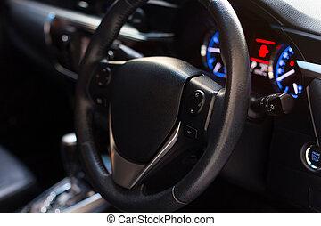 Car inside, Interior of modern car with black salon
