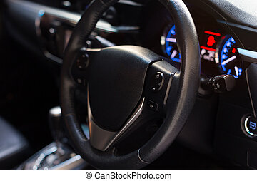 Car inside, Interior of modern car with black salon