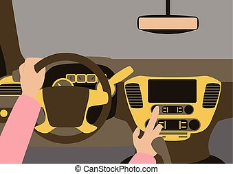 Car inside. The driver presses the buttons