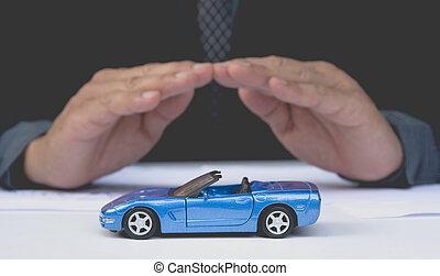 Car insurance and car services concept. Protection of car. Business concept. Care and protection of car.