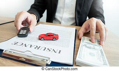 Car insurance and collision damage waiver concepts. Businesswoman with protective gesture and car. solution for the best protection