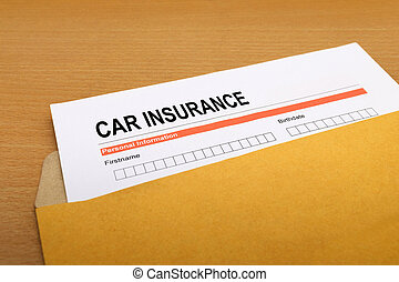 Car Insurance application form on brown envelope