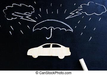 Car insurance. Blackboard with drawn rain and model of car.