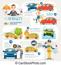 Car insurance business character and icons template. Vector...