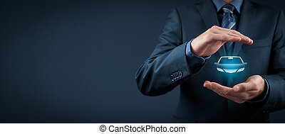 Car (automobile) insurance and collision damage waiver concepts. Businessman with protective gesture and icon of car. Wide banner composition.