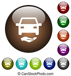 Car insurance color glass buttons
