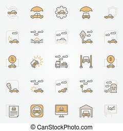 Car insurance colorful icons