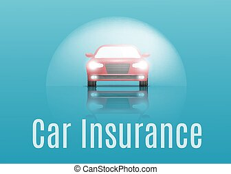Car insurance concept. Banner with text. Vector illustration