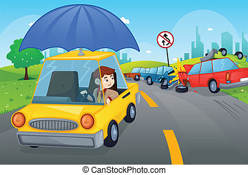 Car insurance concept - A vector illustration of cars in an...