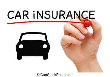Hand drawing Car Insurance concept with marker on transparent wipe board.