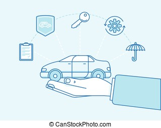 Car insurance concept - illustration and infographics design...