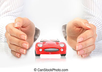 Car insurance concept. Isolated over white background.