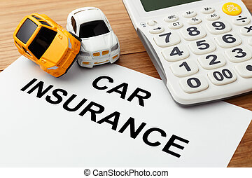 Car insurance concept with calculator