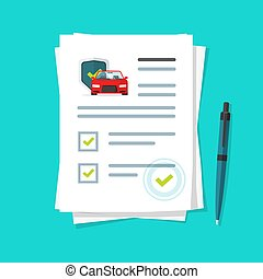 Car insurance document report vector illustration, flat cartoon paper agreement checklist or loan checkmarks form list approved with automobile under umbrella icon, vehicle financial or legal deal