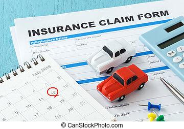 Car insurance form with mark on calendar - Car insurance...