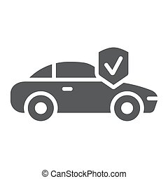 Car insurance glyph icon, safety and auto, automobile protection sign, vector graphics, a solid pattern on a white background.