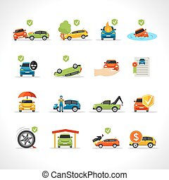 Car Insurance Icons Set