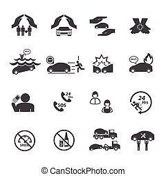 Car insurance icons set.