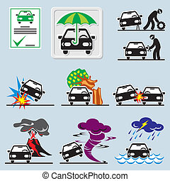 car insurance icons - set of vector icons with symbols car...