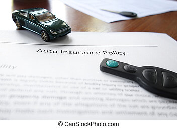 Car insurance, mini auto, and key
