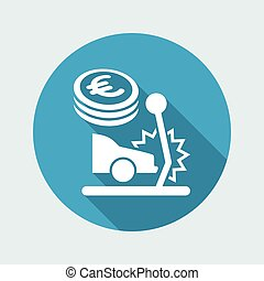 Car insurance payment - Euro - Vector web icon