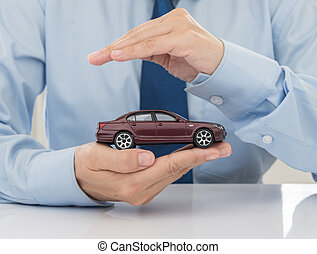protection of car (automobile). insurance concept.