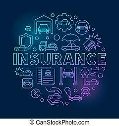 Car insurance round blue illustration