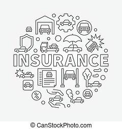 Car insurance round illustration