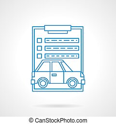 Car insurance services flat line vector icon