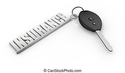 car insurance - one key of a car with a keychain made with...