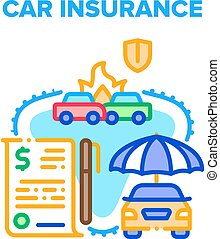 Car Insurance Vector Concept Color Illustration