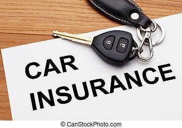Car insurance with car key on wood table
