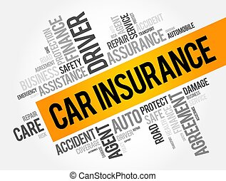 Car insurance word cloud collage, business concept