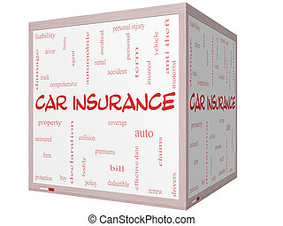 Car Insurance Word Cloud Concept on a 3D cube Whiteboard