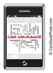 Car Insurance Word Cloud Concept on Touchscreen Phone