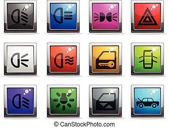 Car interface icons set