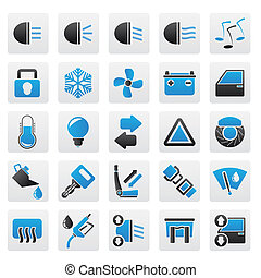 Car interface sign and icons