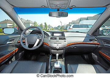 Car interior. Auto background.
