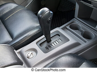 Automatic transmission gear shift. - Car interior. Automatic...