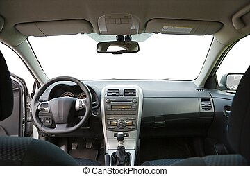 Car Interior - Car interior view of the dashboard from the...