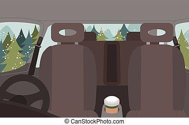 Car Interior, Comfortable Automobile Inside View