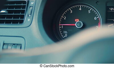 Car interior dashboard details with indication lamps. Car...
