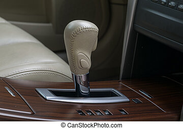 Automatic transmission gear shift. - Car interior decorate...