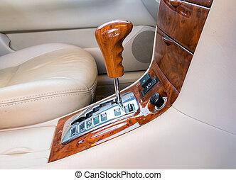 Automatic transmission gear shift. - Car interior decorate...