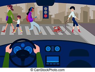 Car interior from the driver's seat with a cross road flat vector illustration.