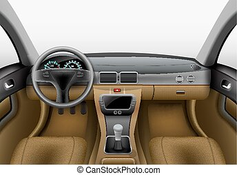 dashboard car interior made with gradient mesh
