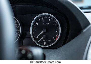 car interior. Modern car speedometer and dashboard....