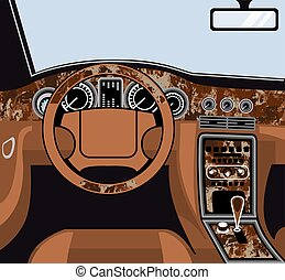 Car interior Wood Trim Vector