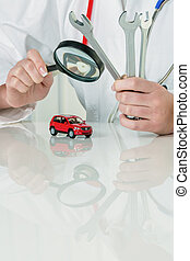 car is checked by doctor