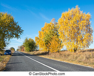 Car is on the side of the road, autumn